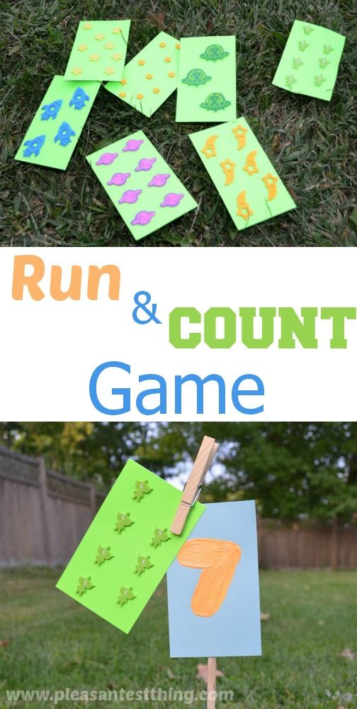 Run and Count is a game we use to practice counting, and get more familiarity with numbers. It very easy: I give the kids cards with varying numbers of stickers on them, the kids count the stickers on the cards, and then run and find the stick that corresponds to.