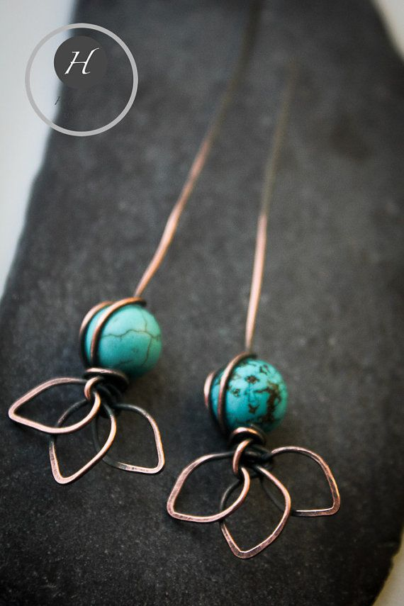 Long Turquoise Hammered Copper Head pins by HelenaBausJewellery