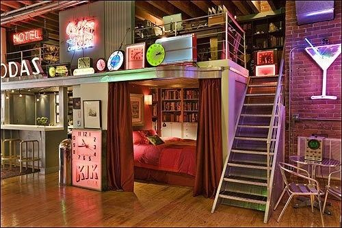 I want at least one room in my house to resemble something like this. Colorful lights, brick walls, novelty decorations, and unique, unusual architecture all contribute to a creative, artistic, and fun, youthful look. Punk Bedroom | Punk Rock Bedroom