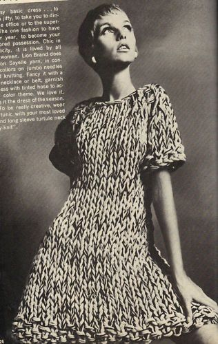 60's and 70's craft magazine lovelies -Knit in a Jiffy or Jiffy knits, basically taking 2 or 3 strands of yarn, knitting and achieving a marl effect...or strand of variegated or space dye and strand solid