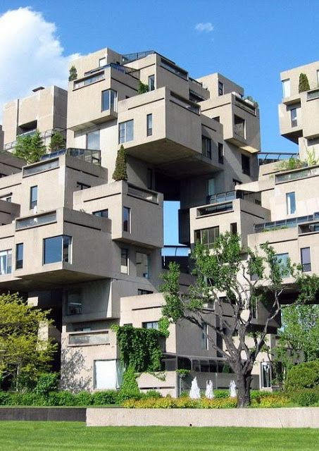 Habitat 67 | A housing complex situated in Montreal, Canda. It's designed by an Israeil-Canadian architect who was called Moshe Safdie. It was considered as one of his master's thesis in architecture at McGill University.