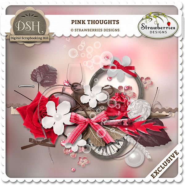 Pink Thoughts by Strawberries Designs : DSH: Digital Scrapbooking Hill - high quality CU and PU elements, exclusive products, kits, freebies and more...