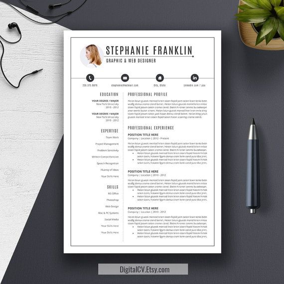 Professional Resume Template, Cover Letter, US Letter, A4, Word, CV Template, Creative and Modern Resume Design, Instant Download, STEPHANIE