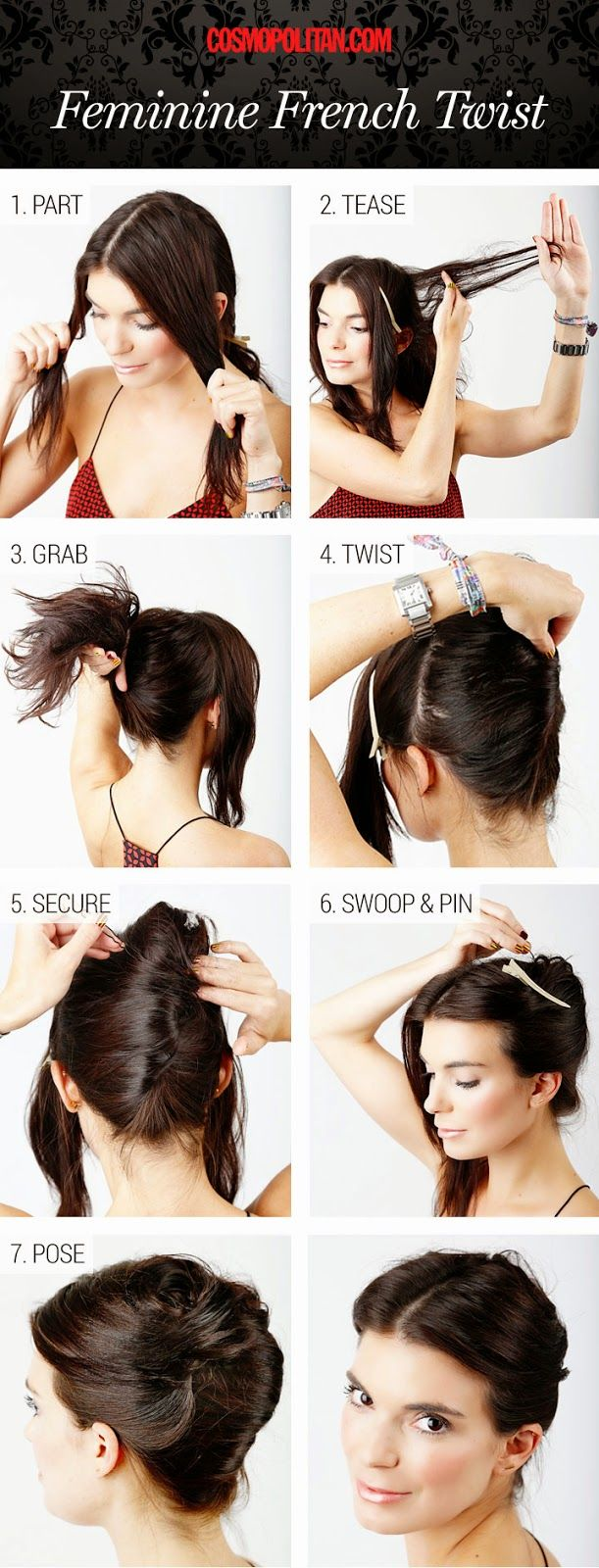 french twist hairstyle hair tutorial. Amazingly easy to make french twist hairstyle. French twist ...