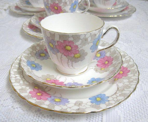 Vintage Tea Trio Plant Tuscan China Hand Coloured Pastel