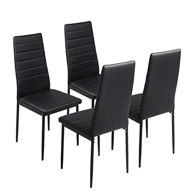 Fayean Dining Kitchen Chair High Back Foam Padded Seat With Steel