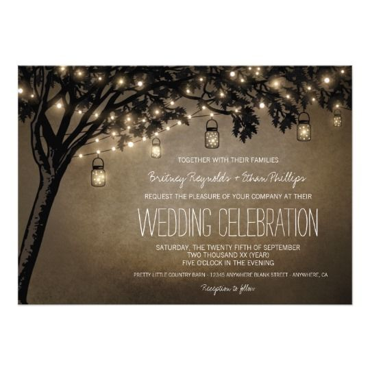 74 best oak tree wedding invitations images on pinterest tree vintage mason jar oak tree wedding invitations stopboris Image collections
