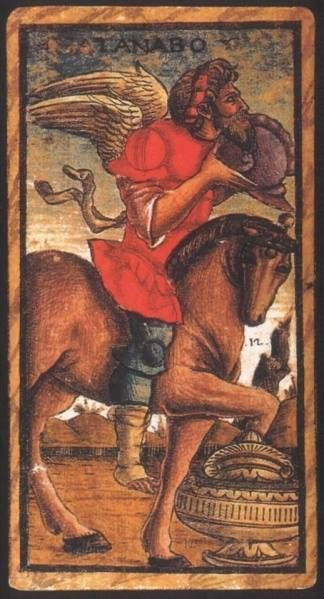Kingiht of Cups:  Meaning of Knight of Cups from the Sola Busca Deck   Upright:   (Tanabo) The desire to create. A man with a strong work ethic.   Reversed:   (Tanabo)  Creative block. Inability to work.   source: Italian Tarot/Sola Busca/Italy, c.1491
