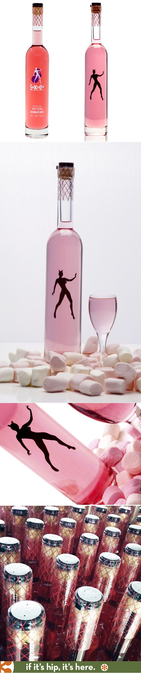 Sexycat Marshmallow Flavored Vodka Liqueur in two variations of bottle designs from Australia's MT.Uncle Distillery.