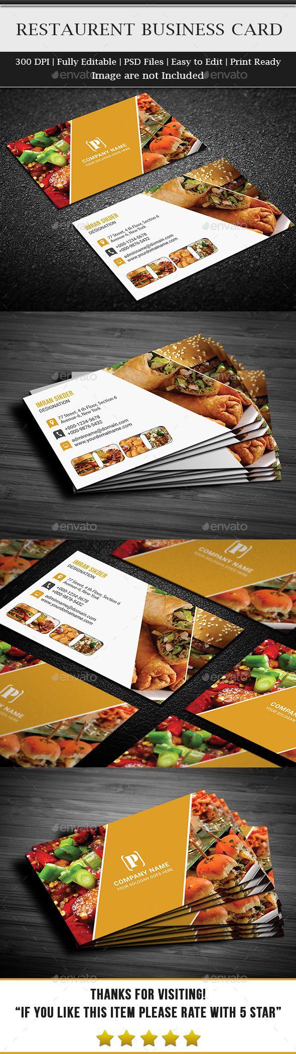 Restaurant Business Card Template PSD #design Download: http://graphicriver.net/item/restaurant-business-card/13365593?ref=ksioks