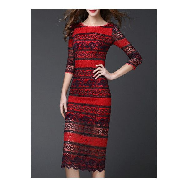 Red Color Block Backless Hollow Lace Dress (5,200 INR) ❤ liked on Polyvore featuring dresses, lace colorblock dress, red backless dress, lace cocktail dress, color block dress and red lace cocktail dress