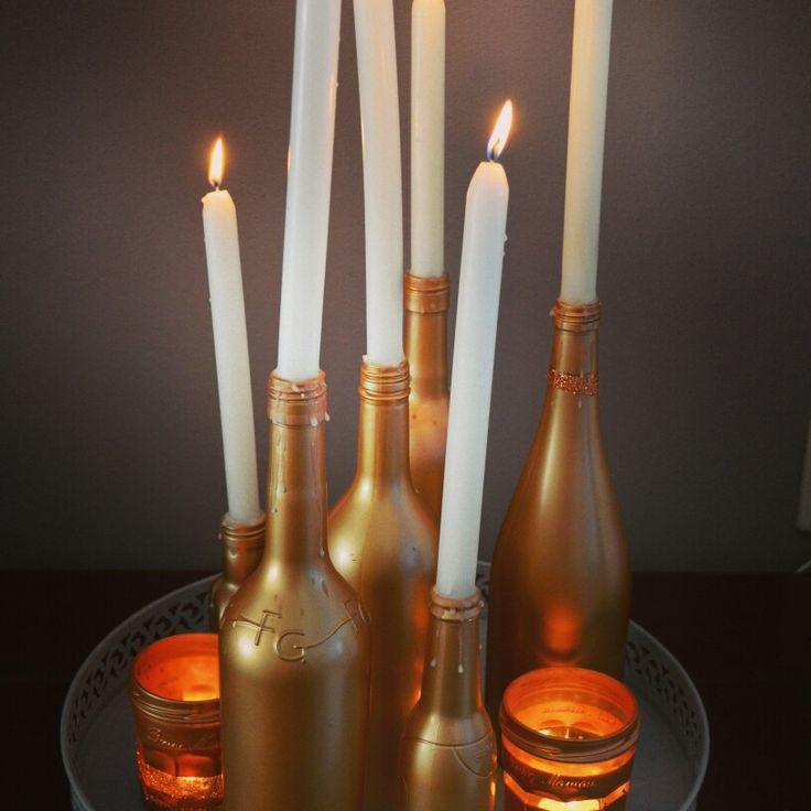 Wijnfleskandelaars tutorial diy, wine bottle, kandelaar, candles