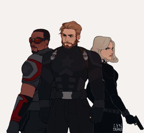 Avengers Infinity War fan art. Falcon, Captain America and Black Widow by Lyndraws on Tumblr
