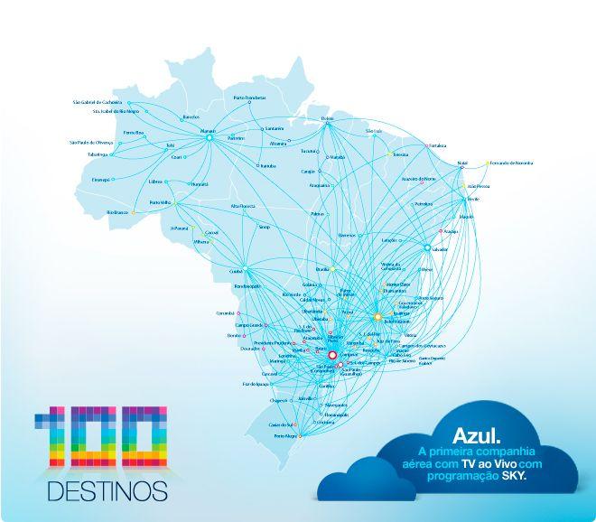 Azul Linhas Aereas Brasileiras route map