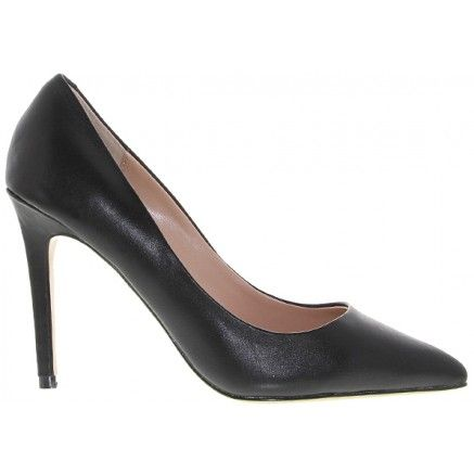 A black leather pointed low heel.  Leather upper and synthetic lining.  Heel height is 10cm.