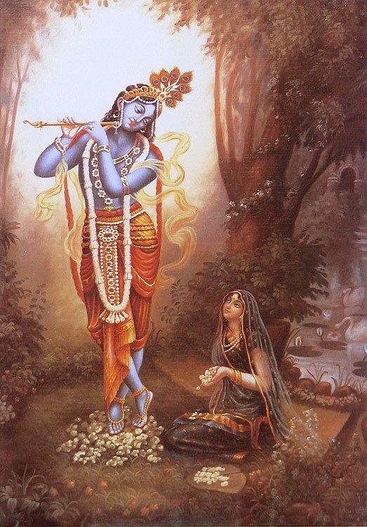 Radha Worships Krishna (Reprint on Paper - Unframed)