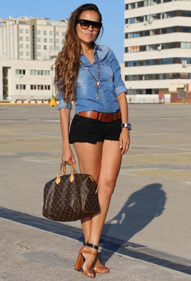 short negro y denim blusa