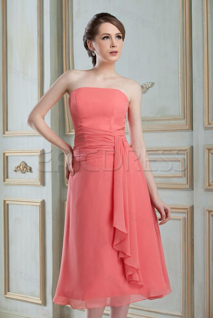 Amazing Draped A-Line Strapless Tea-length Hot Sell Nadya's Bridesmaid Dress   USD $ 100.59 website:http://urlend.com/22E7FbZ