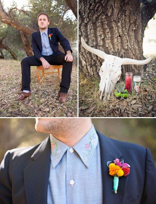dia de los muertos boutonniere: Wedding Inspiration, Muertos Boutonniere, Wedding Ideas, Muertos Wedding, Colorful Weddings, Groomsmen Boutonniere, Green Wedding, Day Of The Dead
