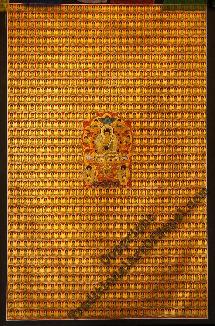 1000 Buddha gold Thanka  #painting traditionalartofnepal.com  | This thangka communicates the idea that every being can become a Buddha and that all Buddhas are one. #Buddha #thangka-painting