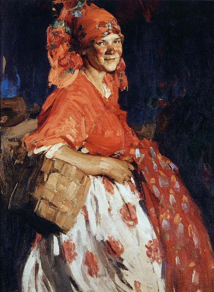 Baba in Red.  Oil on canvas by Abram Arkhipov (1862-1930)