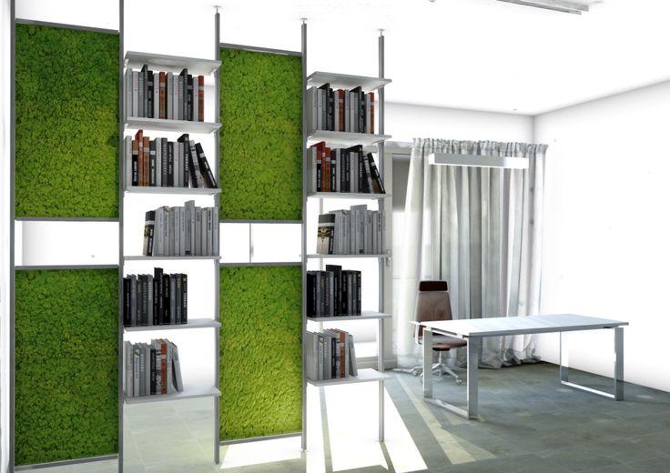Arredare Green  libreria divisoria con lichene stabilizzato  PROGETTI su misura per Arredamenti moderni  una LINEA pensata per integrare funzionalita' e benessere