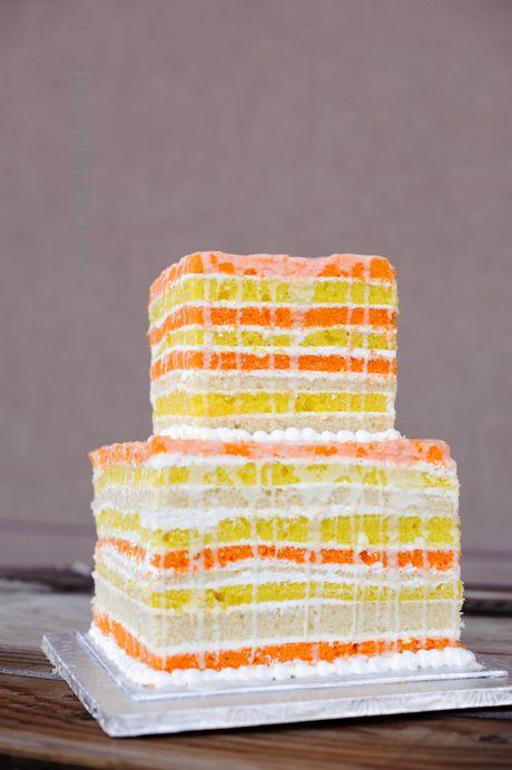 Orange and Yellow Square Naked Wedding Cake