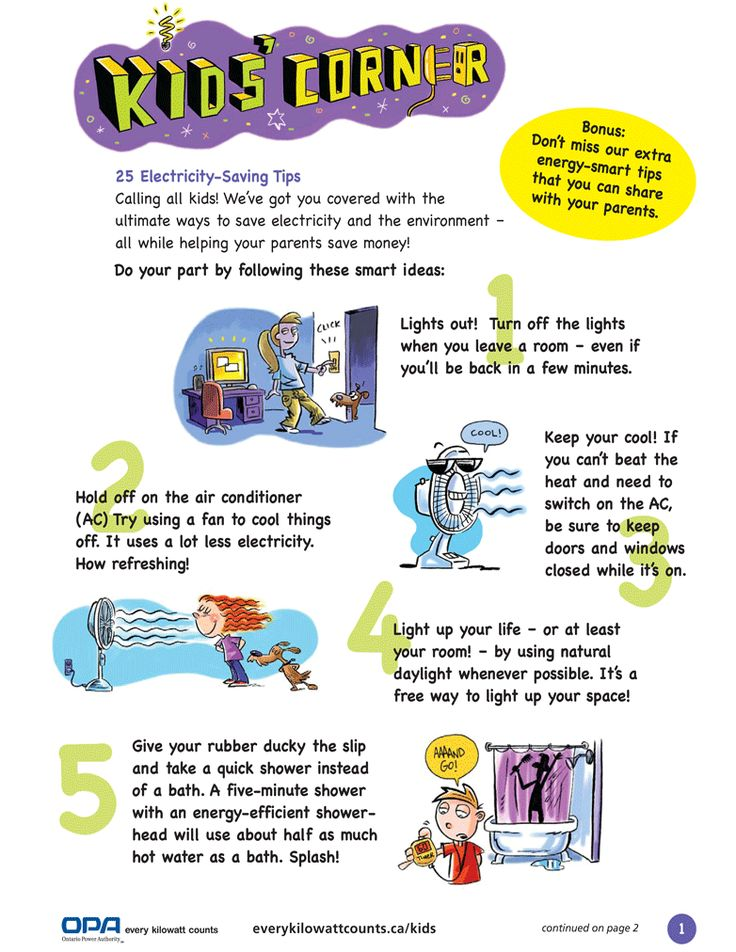 Electricity-Saving Tips -Kids Corner | Bvu project | Pinterest