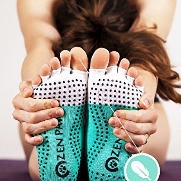 Zen Paws premium non slip toeless socks for Yoga, Pilates, Fitness, Barre or dance - turquoise color. 2