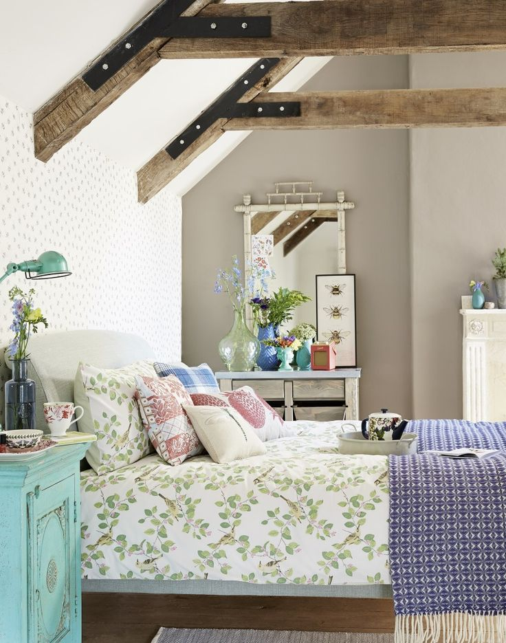 Country Attic Bedroom with Bird Trellis Bed Linen
