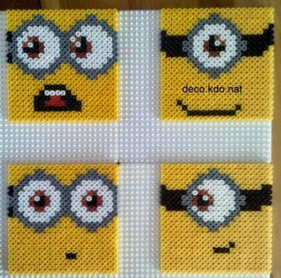 Minion coasters hama perler beads by deco.kdo.nat
