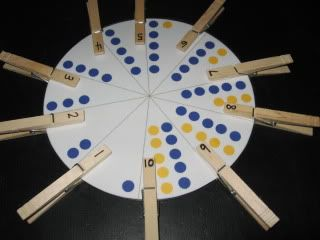 Number Wheel -- match the numbered clothespins to the corresponding circle sections. -- from walkingbytheway.com