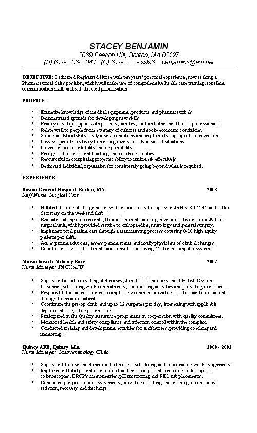 25+ melhores ideias de Nursing resume examples no Pinterest - sample resume for nursing student
