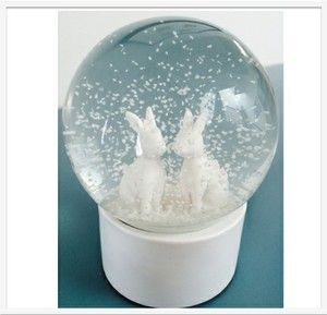 "SNOW GLOBE WHITE RABBIT A gorgeous white glass snow globe, featuring a pair of 'Happy Together Rabbits', a perfect new baby or christening gift or addition to any child's bedroom.   Beautifully and safely packaged with the inscription ""I love you more than all of the snow falling from the sky."" www.lumleylocket.com"