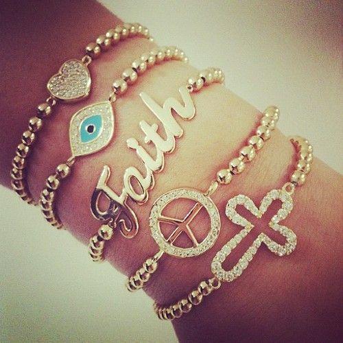 : Arm Candy, Gold Bracelets, Peace Signs, Stacking Bracelets, Fashion Teens, Evil Eye Bracelets, Have Faith, Arm Parties, Crosses Bracelets
