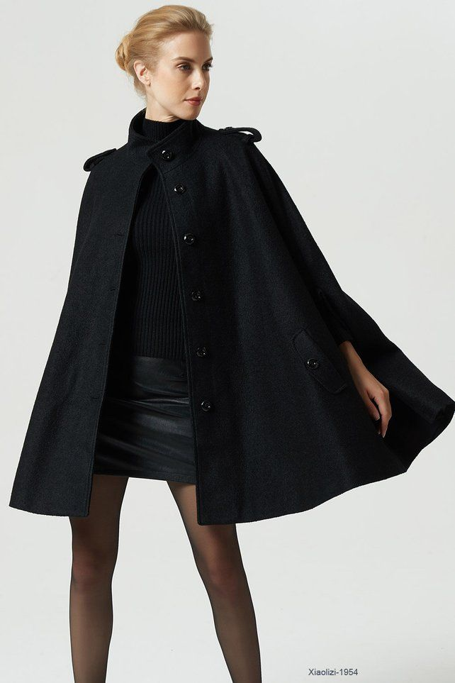 f1e22794a4 Wool cape, black cape, cape coat, long cape, womens cape, poncho ...