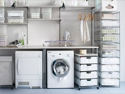 love the simplicity. IKEA ANTONIUS shelves for laundry space.