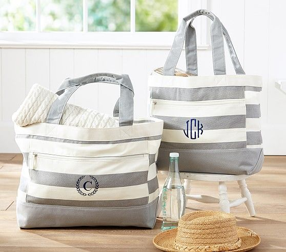 Preppy Club Gray Stripe Family Totes Beach Tote Bags