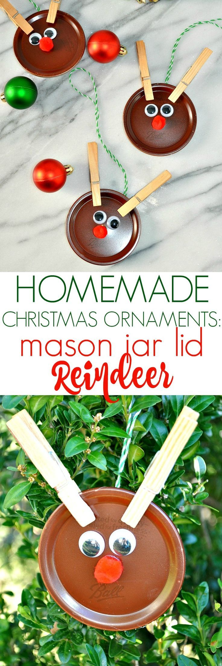 easy christmas crafts ideas ornaments jar lid reindeer 4336