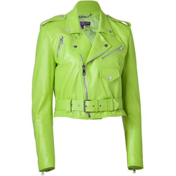 Ralph Lauren Collection - Lime Green Glove Leather Jacket ($1,605) ❤ liked on Polyvore featuring outerwear, jackets, leather jackets, green, casaco, cropped motorcycle jacket, green motorcycle jacket, cropped leather jacket and moto jackets