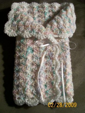 Preemie Shell Wrap --- This is made in 3 sizes Small 1 - 1 1/2 lb., Medium 2 - 2 1/2 lb., Large 3 - 4 lb.