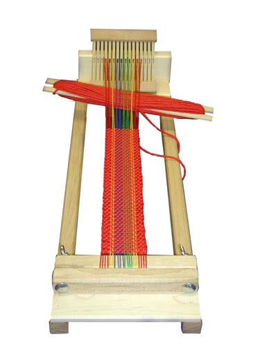 """Same features as RH-10 loom, but narrower. This loom comes with a 4"""" (8 dent) heddle only, and the same starter project as our RH-10 loom. Made of hard maple, our BEGINNER'S WEAVING LOOM comes fully a"""