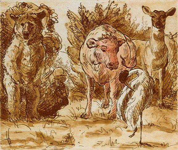 """Melissa Miller<br /><em>Group</em>  1998<br />hand colored etching, spit bite aquatint, ed: 75<br />11"""" x 15""""<br />MM 12"""