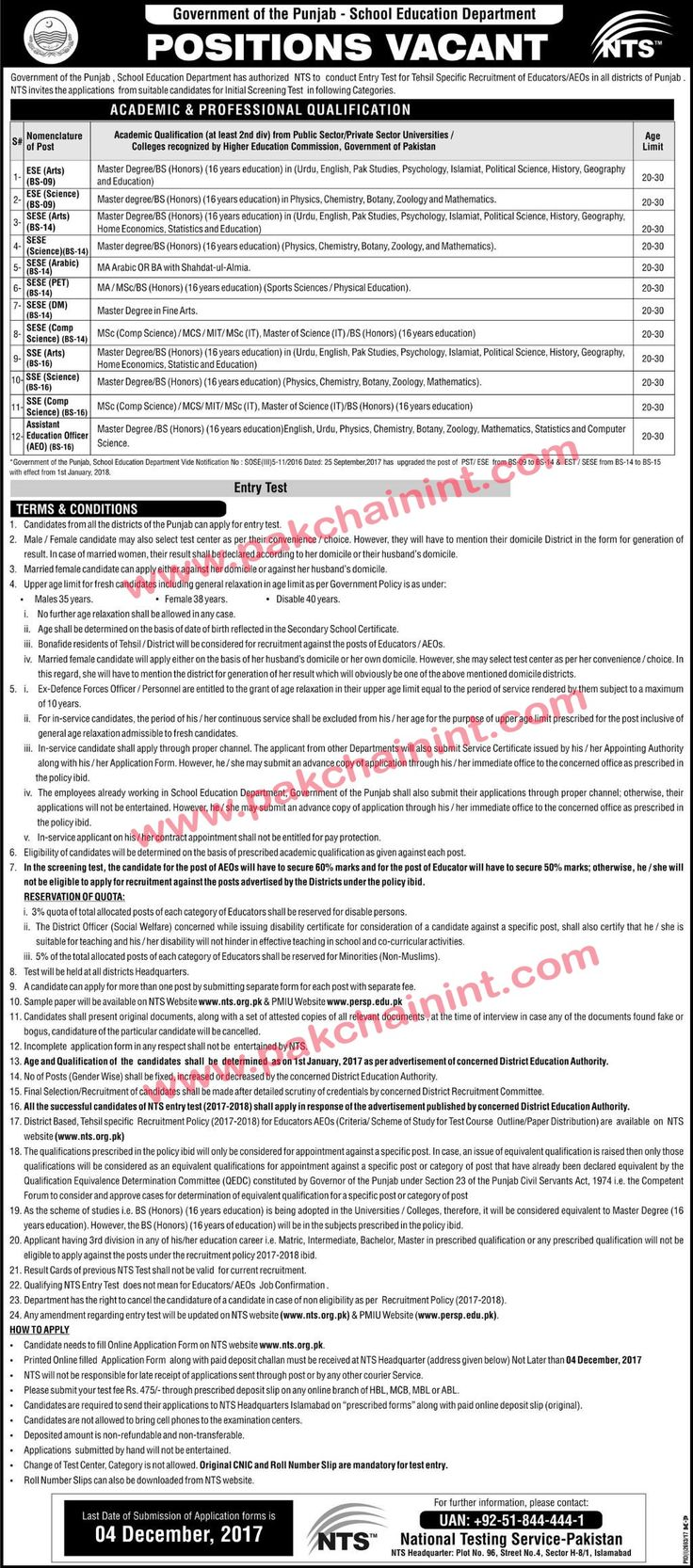 Teacher Jobs in School Education Department ESE 9 to AEO 16 in all districts of Punjab Last date for application submission: 4 December 2017 Government of the Punjab - School Education Department  POSITIONS VACANT   Government of the Punjab School Education Department has authorized NTS to conduct Entry Test for Tehsil Specific Recruitment of Educators/AEOs in all districts of Punjab.   #16 #9 #Advertisement #aeo #all district #all paper jobs #Application #chain #