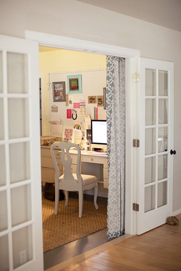 Hang A Pretty Shower Curtain On The Inside Of The Office To Pull Across French  Doors