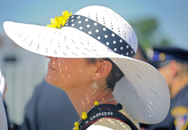 Dani Stottlemyer of Gettysburg, Pa., waits to enter the gate at the 137th Preakness Stakes at Pimlico Race Course May. 19, 2012.