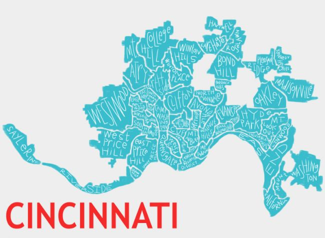 Cincinnati Map neighborhoods - red and turq - 800