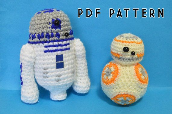 Free Crochet Patterns Amigurumi Star Wars : R2D2 and BB8 Star Wars Droids Crochet Pattern by ...