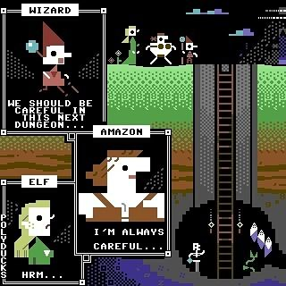 Today on Mistigram another small-scale @Polyducks creation #PETSCII style (though likely rendered in #Rexpaint.) This #textmode fantasy comic strip panel was released in our recent MIST0317 artpack collection... ..and a special greetings to the denizens of our new public Facebook group athttp://ift.tt/2nDCEmV should we hope be in line to receive daily updates about these Mistigram postings automagically through the intervention of IFTTT. Knock on wood!