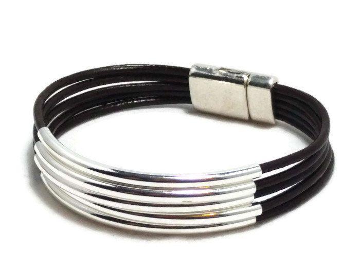 Womens leather bracelet multi strand bracelet leather bracelet tube bracelet womens bracelet brown bracelet magnetic clasp RLB2-02-02